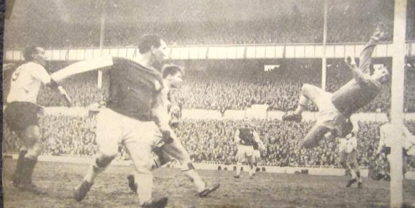 Alan Gilzean scores the first goal. [Photo: Logan Holmes]