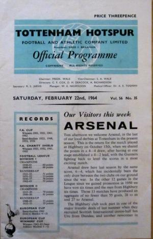 Tottenham v Arsenal Feb. 1964 [Photo: Logan Holmes]