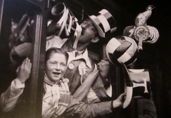 1937 Tottenham fans on their way to Liverpool [Photo: Logan Holmes]