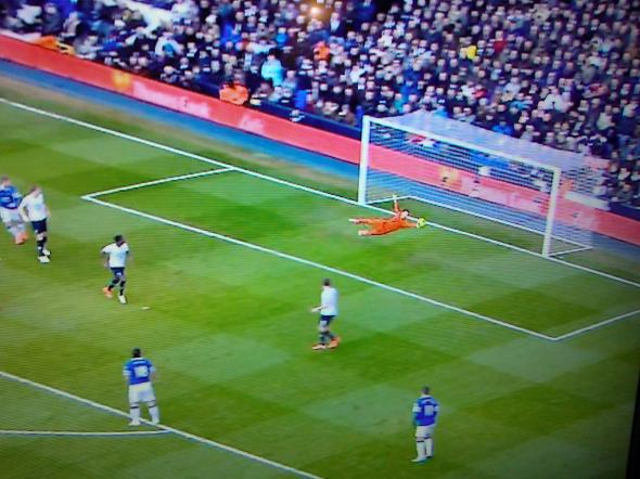 Lloris save against Everton [Photo: Alan Hill]