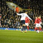 Nacer Chadli's free-kick [Photo: Alan Hill]