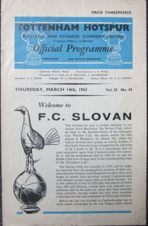 1963 Spurs v Slovan [Photo: Logan Holmes]