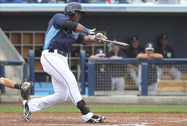 March 12, 2013; Port Charlotte, FL, USA; Tampa Bay Rays first baseman Leslie Anderson (86) singles during the fourth inning against the New York Yankees at Charlotte Sports Park. Mandatory Credit: Kim Klement-USA TODAY Sports