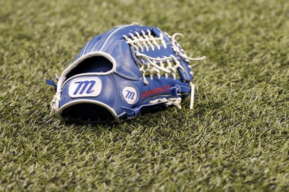 Apr 1, 2014; St. Petersburg, FL, USA; A view of the glove of Toronto Blue Jays right fielder Jose Bautista (19) prior to the game against the Tampa Bay Rays at Tropicana Field. Mandatory Credit: Kim Klement-USA TODAY Sports