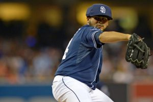 Jun 21, 2014; San Diego, CA, USA; San Diego Padres relief pitcher Alex Torres (54) pitches during the eighth inning against the Los Angeles Dodgers at Petco Park. Mandatory Credit: Jake Roth-USA TODAY Sports