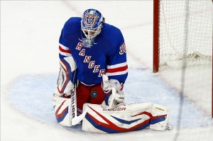 May 23, 2013; New York, NY, USA; New York Rangers goalie Henrik Lundqvist (30) makes a save against the Boston Bruins during the second period in game four of the second round of the 2013 Stanley Cup Playoffs at Madison Square Garden. Mandatory Credit: Debby Wong-USA TODAY Sports