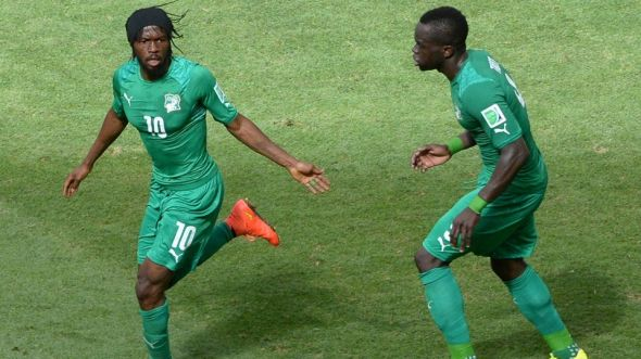 Gervinho (left) has been fantastic for the Ivory Coast this summer - Greece beware