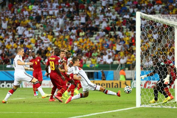 Miroslav Klose slots home from close range to bring Germany back level and placed him first all-time for Germany in World Cup goals, and tied with Ronaldo for the most in it's history.