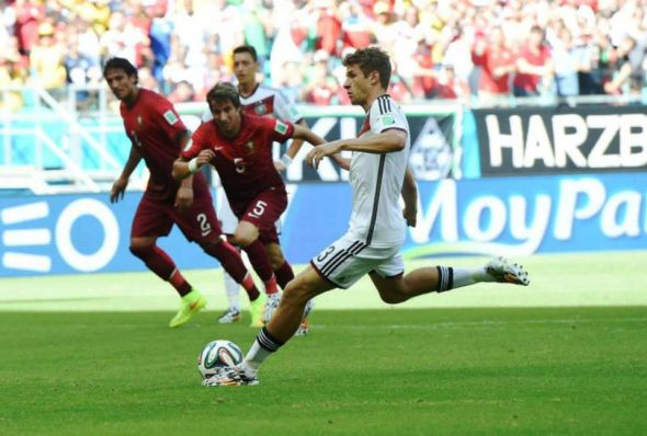 Thomas Muller - calm and cool from the spot, bags his first of three on the day.