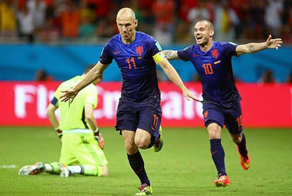 Arjen Robben (center) and Wesley Sneijder (right) make up two-thirds of the deadly Dutch attacking triumvirate