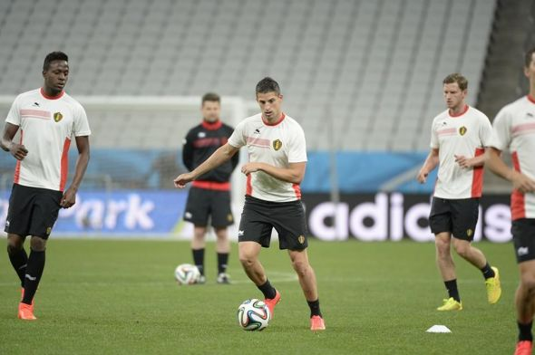 Divock Origi, Kevin Mirallas and Jan Vertonghen train ahead of their final group stage match.
