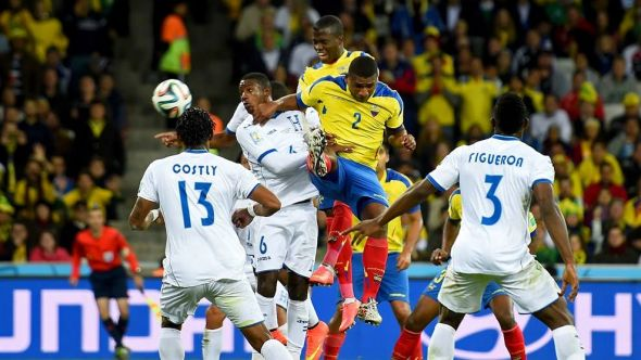 Enner Valencia (back, far) has been sensational this tournament and his goal scoring ability has continued, bagging all three of Ecuador's goals in the tournament.