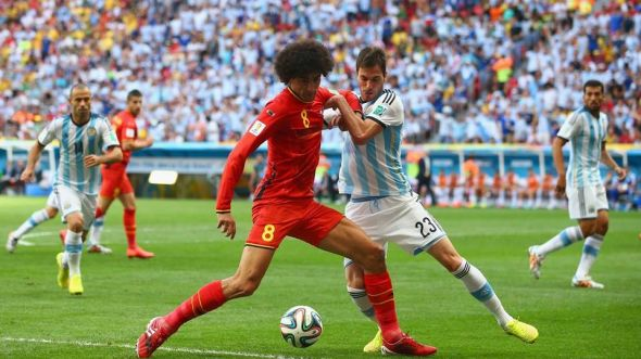 Belgium threatened Argentina more through Marouane Fellaini's fouling than through the run of play in the first half.