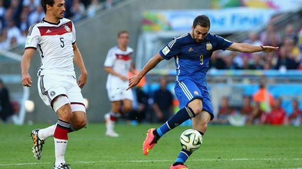 Gonzalo Higuain had a glorious chance to put Argentina ahead in the first half but fluffed his effort horribly wide.