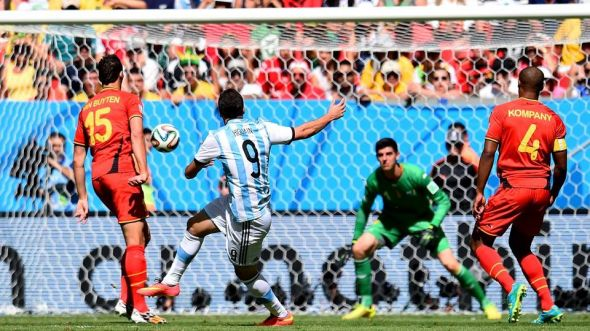 Gonzalo Higuain opens the scoring in Brasilia as well as bagging his first goal of the tournament