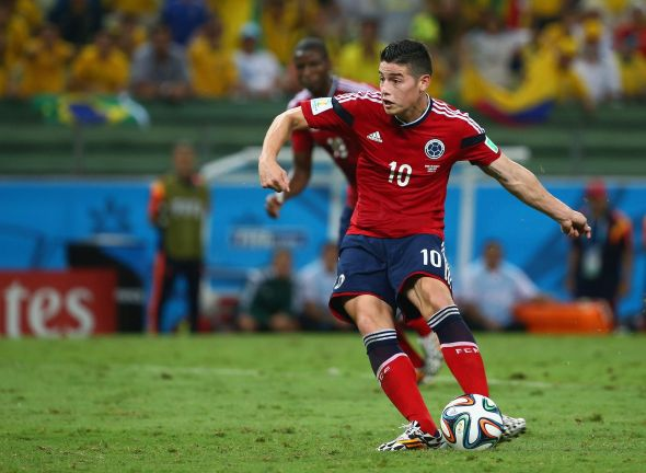 James Rodriguez converts from the spot to give Colombia a lifeline - it was his 6th of the tournament.