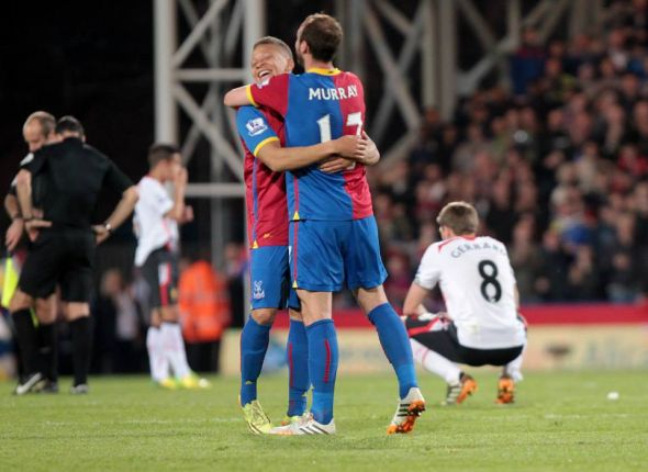 Dwight Gayle and Glenn Murray celebrate at full-time after THE comeback