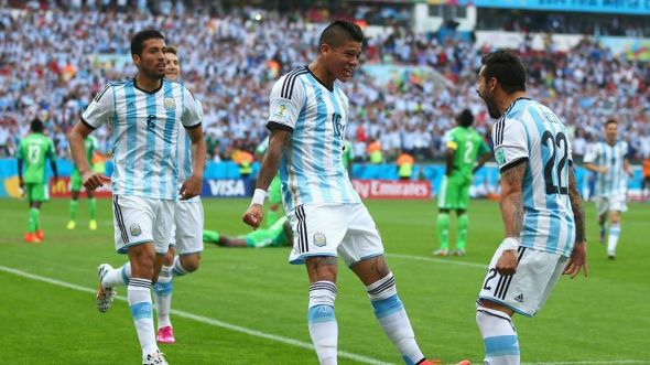Marcos Rojo (center) has been a revelation for Argentina. He's been brilliant going forward, but he'll be tasked with marking Shaqiri, which is a far more important goal.