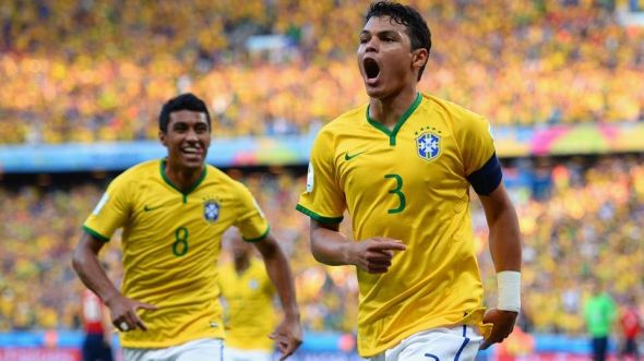 Thiago Silva (3) celebrates his goal which broke the deadlock inside the first ten minutes.