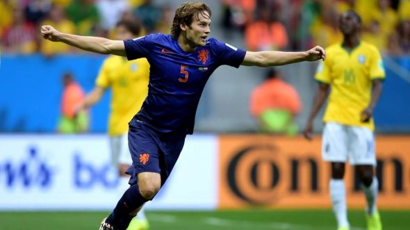 Blind celebrates his goal in the 17th minute.