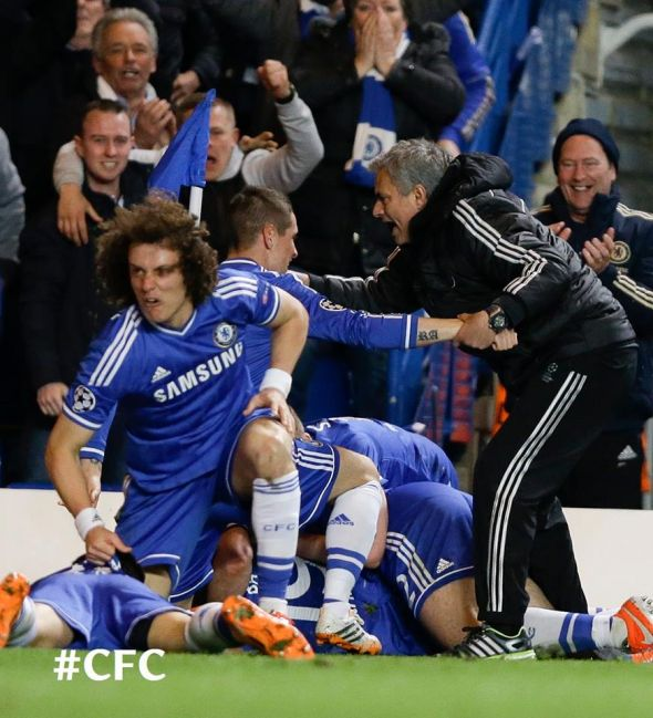 Chelsea players celebrate Demba Ba's winner against PSG in the Champions League quarterfinal last season.