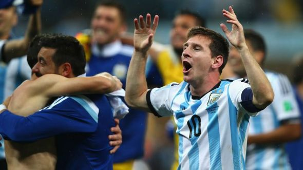 Lionel Messi celebrates his team's victory