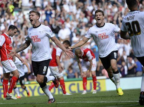 Irish midfielder Jeff Hendrick celebrates winning Derby County's first league game, against Rotherham. It started off what County fans hope will be a season ending in promotion.