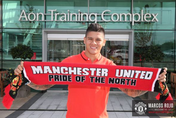 Newest signing Marcos Rojo won't feature until next weekend's match. Taken from Manchester United's official facebook page.