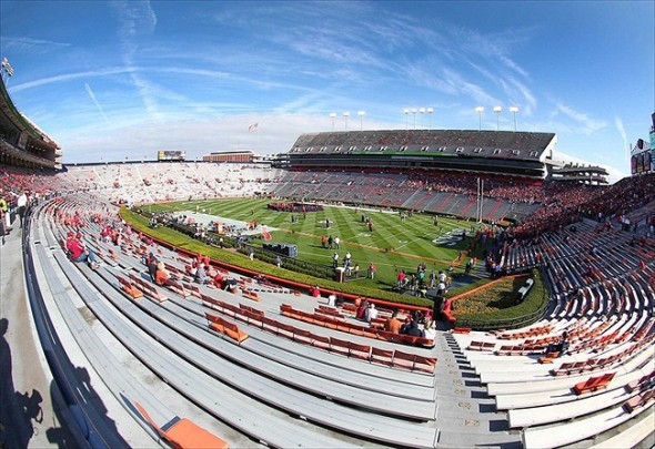 Nov 26, 2011; Auburn, AL, USA;  A general view of Jordan-Hare Stadium prior to the Iron Bowl between the Alabama Crimson Tide and the Auburn Tigers. Mandatory Credit: Marvin Gentry-USA TODAY Sports