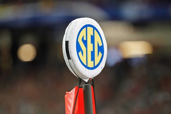 Dec 3, 2011; Atlanta, GA, USA; A detailed view of an SEC logo on a yard marker during the first half of the 2011 SEC championship game between the LSU Tigers and the Georgia Bulldogs at the Georgia Dome.  Mandatory Credit: Derick E. Hingle-USA TODAY Sports