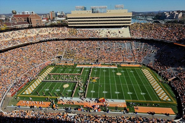 Nov 10, 2012; Knoxville, TN, USA; A general view as the Tennessee Volunteers enter the field prior to the game against the Missouri Tigers at Neyland Stadium. Missouri defeated Tennessee 51-48 in quadruple overtime. Mandatory Credit: Jim Brown-USA TODAY Sports