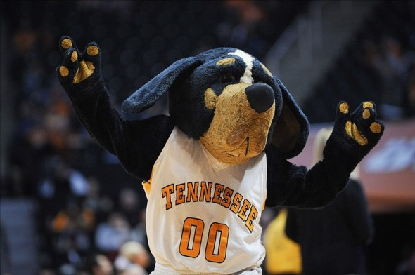 Jan 4, 2014; Knoxville, TN, USA; Tennessee Volunteers mascot Smokey cheers against the Tusculum Pioneers during the second half at Thompson-Boling Arena. Tennessee won 98 to 51. Mandatory Credit: Randy Sartin-USA TODAY Sports