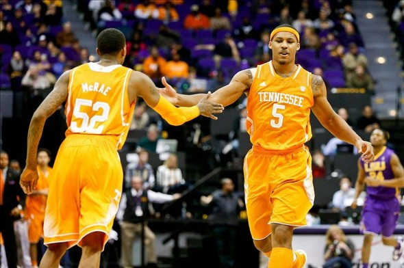 Jan 7, 2014; Baton Rouge, LA, USA; Tennessee Volunteers forward Jarnell Stokes (5) celebrates with guard Jordan McRae (52) after scoring against the LSU Tigers during the second half of a game at the Pete Maravich Assembly Center. Tennessee defeated LSU 68-50. Mandatory Credit: Derick E. Hingle-USA TODAY Sports