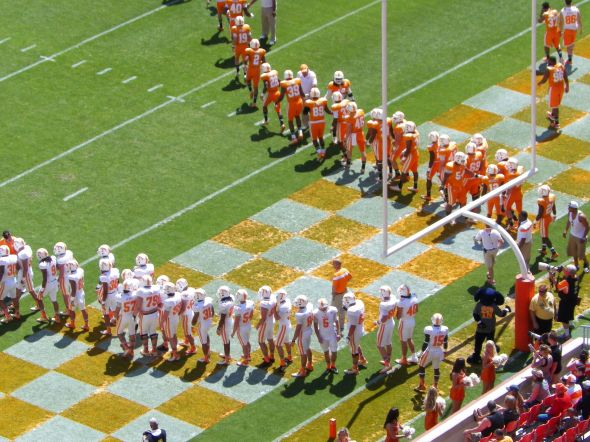 The Vols split into the White team (offense) and Orange team (defense) for Saturday's scrimmage. PHOTO: Nathanael Rutherford