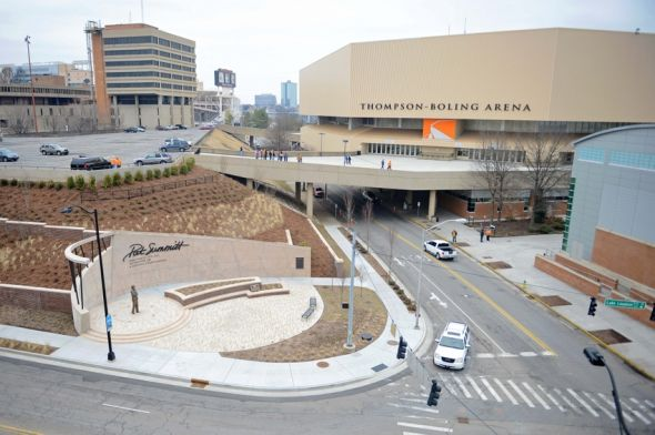 Feb 8, 2014; Knoxville, TN, USA; A general view of Thompson-Boling Arena before the game between the Tennessee Volunteers and South Carolina Gamecocks. The Pat Summitt Plaza is located in the lower left. Mandatory Credit: Randy Sartin-USA TODAY Sports