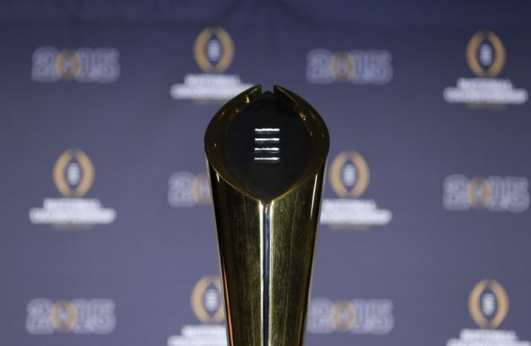 Jan 13, 2015; Arlington, TX, USA; Genral view of the College Football Playoff trophy during a press conference at Renaissance Dallas Hotel. Mandatory Credit: Matthew Emmons-USA TODAY Sports