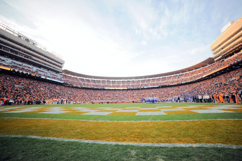 Nov 15, 2014; Knoxville, TN, USA; General view of Neyland Stadium during the first half of the game between the Tennessee Volunteers and the Kentucky Wildcats. Mandatory Credit: Randy Sartin-USA TODAY Sports