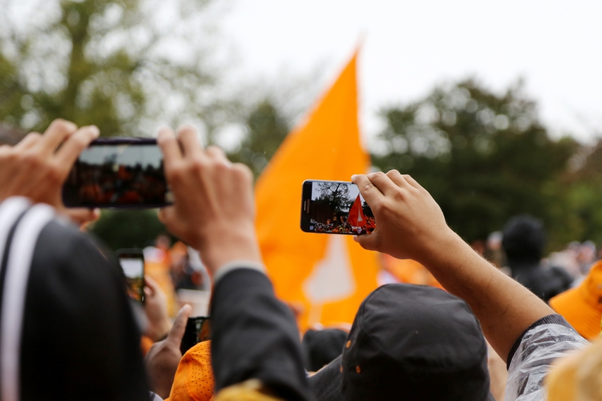 Oct 3, 2015; Knoxville, TN, USA; Tennessee Volunteers fans take photos during the Vol Walk prior to the Volunteers
