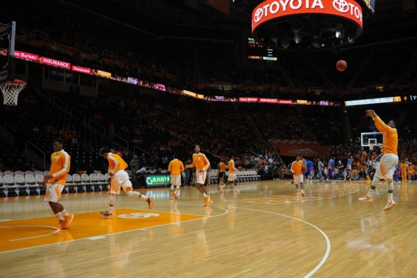 Feb 17, 2015; Knoxville, TN, USA; The Tennessee Volunteers warm up before the game against the Kentucky Wildcats at Thompson-Boling Arena. Mandatory Credit: Randy Sartin-USA TODAY Sports