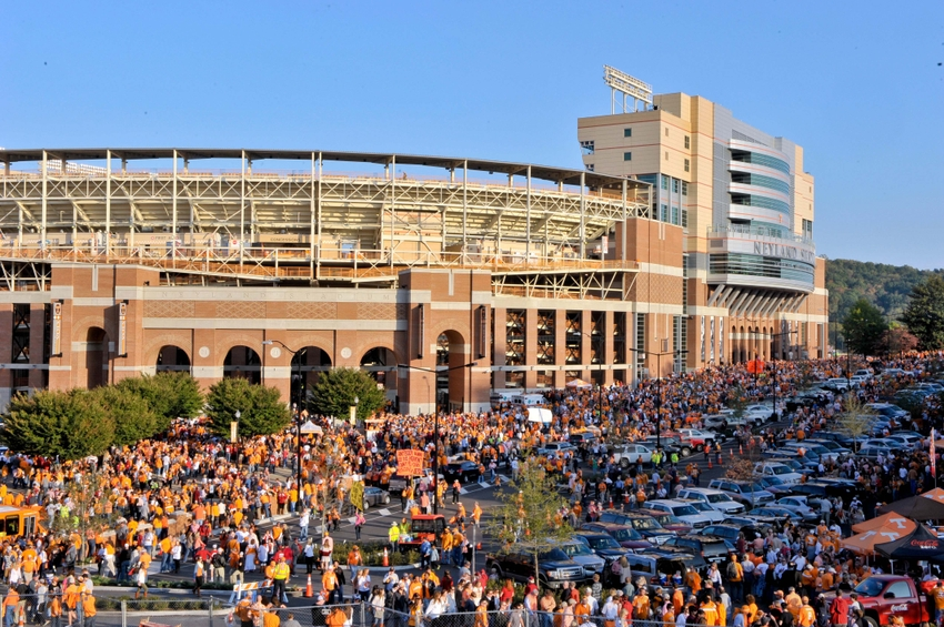 Oct 25, 2014; Knoxville, TN, USA; Tennessee Volunteers fans outside Neyland Stadium prior to the game against the Alabama Crimson Tide. Mandatory Credit: Jim Brown-USA TODAY Sports