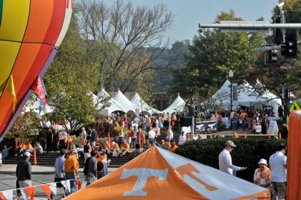 Oct 25, 2014; Knoxville, TN, USA; Tennessee Volunteers fans tailgate prior to the game against the Alabama Crimson Tide at Neyland Stadium. Mandatory Credit: Jim Brown-USA TODAY Sports