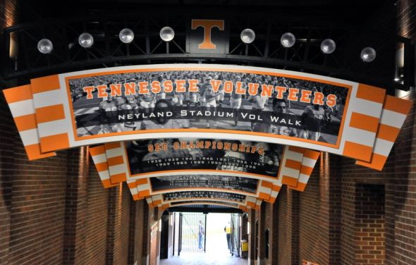 Oct 25, 2014; Knoxville, TN, USA; Tennessee Volunteers Vol Walk stadium entrance prior to the game against the Alabama Crimson Tide at Neyland Stadium. Mandatory Credit: Jim Brown-USA TODAY Sports