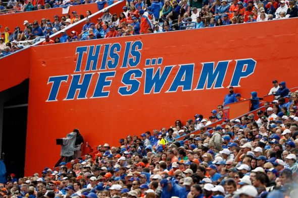 Nov 22, 2014; Gainesville, FL, USA; An overview of the Swamp during the first quarter against the Eastern Kentucky Colonels at Ben Hill Griffin Stadium. Mandatory Credit: Kim Klement-USA TODAY Sports