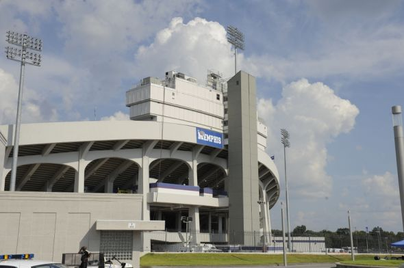 Sep 20, 2014; Memphis, TN, USA; General view of the Liberty Bowl before the game between the Memphis Tigers and the Middle Tennessee Blue Raiders at Liberty Bowl Memorial Stadium. Mandatory Credit: Justin Ford-USA TODAY Sports