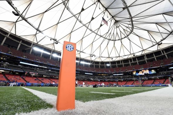 Dec 5, 2015; Atlanta, GA, USA; General view of an SEC pylon prior to the 2015 SEC Championship Game at the Georgia Dome. Mandatory Credit: John David Mercer-USA TODAY Sports