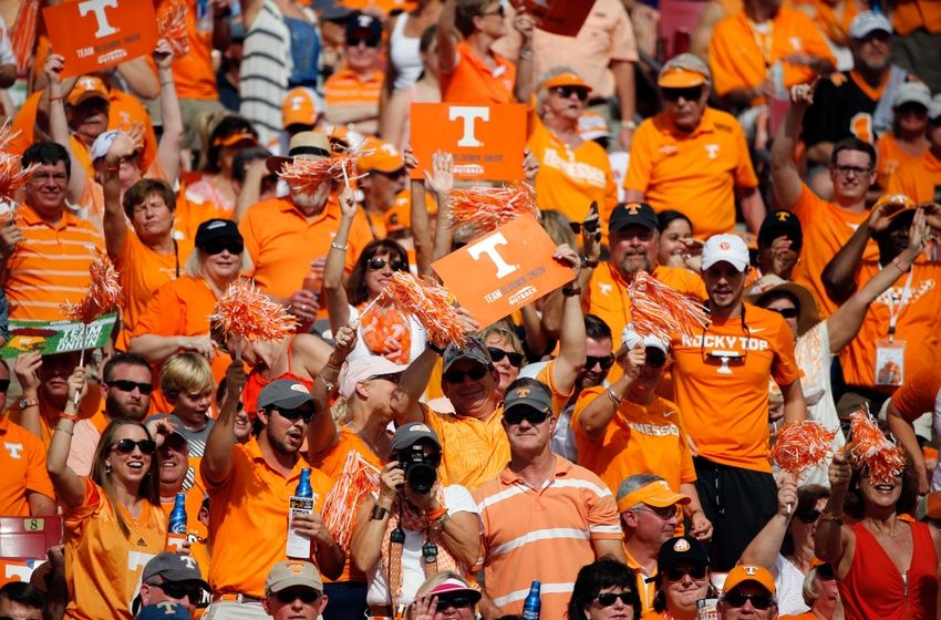 Jan 1, 2016; Tampa, FL, USA; Tennessee Volunteers fans cheer during the first half in the 2016 Outback Bowl against the Northwestern Wildcats at Raymond James Stadium. Mandatory Credit: Kim Klement-USA TODAY Sports