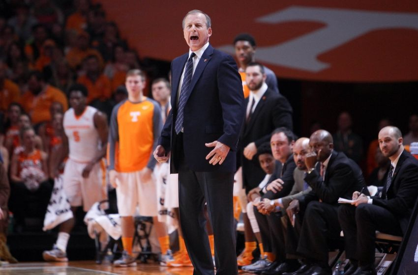 Jan 9, 2016; Knoxville, TN, USA; Tennessee Volunteers head coach Rick Barnes during the first half against the Texas A&M Aggies at Thompson-Boling Arena. Mandatory Credit: Randy Sartin-USA TODAY Sports