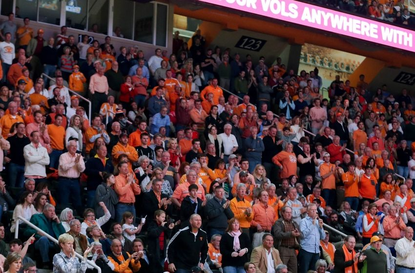 Dec 14, 2014; Knoxville, TN, USA; Tennessee Volunteers fans during the game against the Butler Bulldogs at Thompson-Boling Arena. Tennessee won 67 to 55. Mandatory Credit: Randy Sartin-USA TODAY Sports