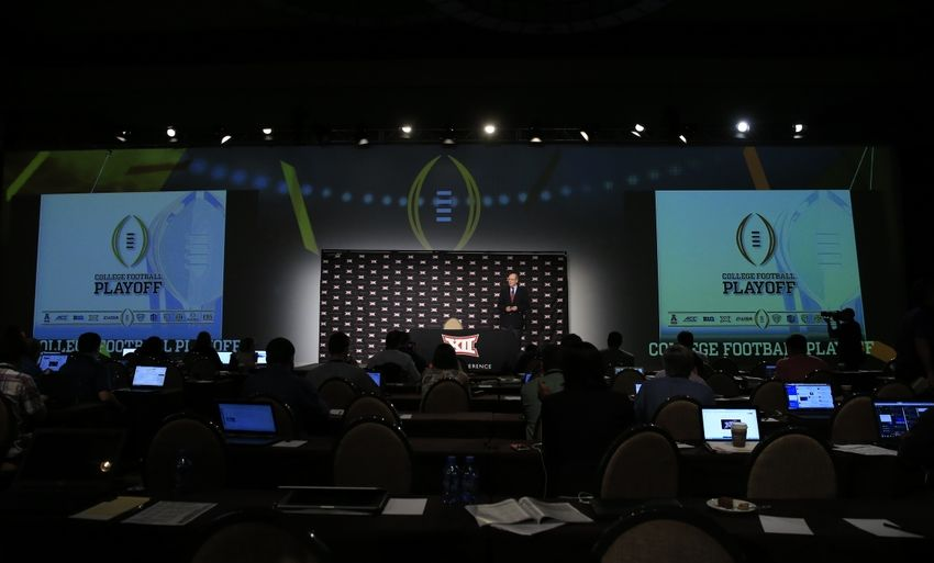 Jul 21, 2015; Dallas, TX, USA; College Football Playoff executive director Bill Hancock speaks to the media during the Big 12 Media Days at Omni Dallas. Mandatory Credit: Kevin Jairaj-USA TODAY Sports
