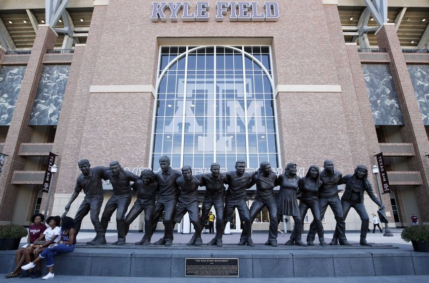 Oct 3, 2015; College Station, TX, USA; A general view of the Texas A&M University Aggies War Hymn Monument before the game between the Texas A&M Aggies and the Mississippi State Bulldogs at Kyle Field. Mandatory Credit: Soobum Im-USA TODAY Sports